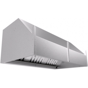 Зонт вытяжной пристенный, 1200х700х450мм, нерж.сталь, лаб.фильтры, без подсветки, отверстие