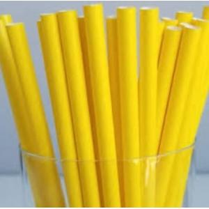 Трубочки для напитков бумажные D 6мм L 197мм жёлтые