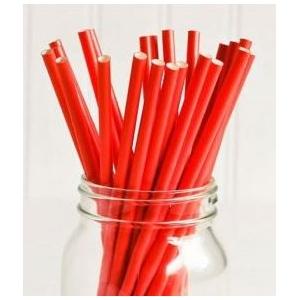 Трубочки для напитков бумажные D 6мм L 197мм красные