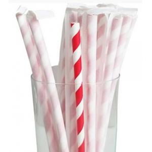 Трубочки для напитков бумажные в индивидуальной упаковке D 6мм L 197мм полоска красный/белый
