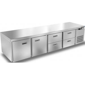Стол морозильный низкий, GN1/1, L2.28м, без борта, 2 двери глухие+4 ящика, ножки, -10/-18С, нерж.сталь, дин.охл., агрегат справа