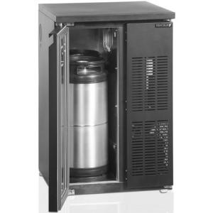 Стол холодильный для кег, L0.55м, без борта, 1 дверь глухая, ножки, +2/+10С, чёрный, дин.охл., агрегат правый, 2 кеги по 20л, R600a