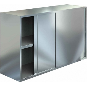 Полка настенная, 1000х400х600мм, 2 уровня сплошных, закрытая, двери-купе, нерж.сталь 430, сварная