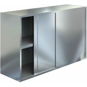Полка настенная, 1500х400х600мм, 2 уровня сплошных, закрытая, двери-купе, нерж.сталь 430, сварная