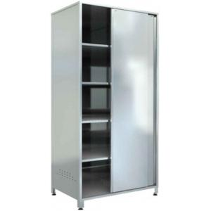 Шкаф кухонный, 900х600х1800мм, 2 двери-купе, 4 полки сплошные, нерж.сталь 430, разборный, вент.отверстия, замок