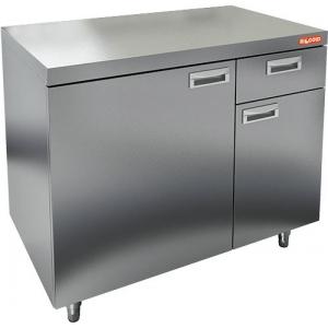 Модуль барный нейтральный для кофемашин,  800х600х850мм, без борта, 2 двери, 1 ящик, ножки, нерж.сталь
