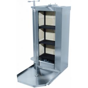 Гриль для шаурмы угольный, загрузка 50кг, 1 вертикальный шампур, 3 зоны нагрева, нержавеющая сталь, камера огнеуп.камень