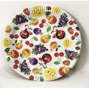 Тарелка 230мм Ягодки круглая рифленая лакированная бумага