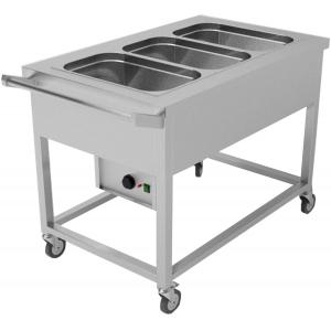 Мармит электрический для вторых блюд, L1.10м, 3GN1/1, нагрев паровой, стенд открытый, обвязка с 4-х сторон, нерж.сталь, колеса