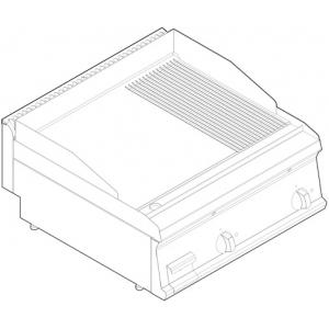 Гриль-сковорода электрическая, 2 зоны, поверхность комбинированная (гладкая+рифленая) стальная, настольная, борт