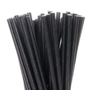 Трубочки для напитков бумажные D 6мм L 240мм чёрные