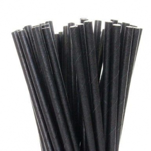 Трубочки для напитков бумажные D 6мм L 140мм чёрные