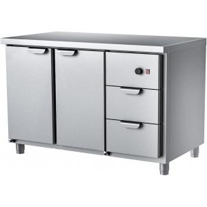 Стол тепловой раздаточный, 1260х700х850мм, без борта, 2 двери распашные+2 ящика, нерж.сталь, ножки
