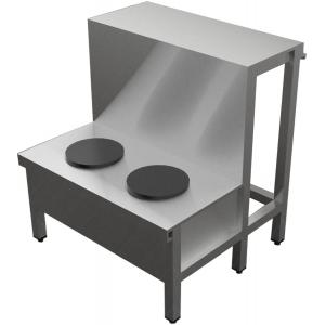 Мармит электрический для первых блюд, L1.10м, 2 конфорки круглые, нерж.сталь, 1 полка сплошная, без отделки