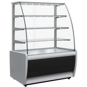 Витрина холодильная напольная, горизонтальная, L0.92м, 3 полки, +6/+12С, дин.охл., черно-серая, стекло фронтальное гнутое, подсветка