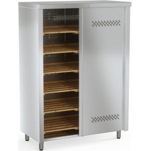 Шкаф кухонный для хлеба, 1200х600х1730мм, 2 двери-купе, 6 полок деревянных, нерж.сталь, разборный, замок