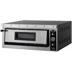 Печь для пиццы электрическая, подовая, 1 камера  720х720х140мм, 4 пиццы D350мм, электромех.управление, дверь стекло, под камень, боковины краш.сталь