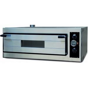 Печь для пиццы электрическая, подовая, 1 камера  700х700х130мм, 4 пиццы D350мм, электромех.управление, дверь стекло, под камень, боковины краш.сталь