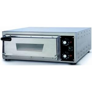 Печь для пиццы электрическая, подовая, 1 камера  350х410х75мм, 1 пицца D340мм, электромех.управление, дверь стекло умень., под камень, нерж.сталь