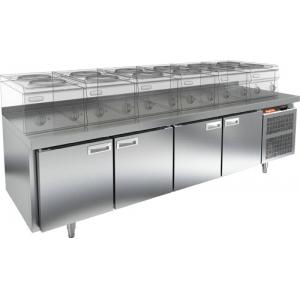 Стол морозильный низкий, GN1/1, L 2.28м, борт H50мм, 4 двери глухие, ножки, -10/-18С, нерж.сталь, дин.охл., агрегат справа