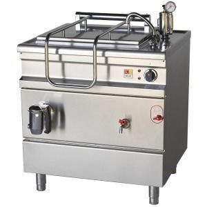 Котел пищеварочный электрический, неопрокидываемый, 100л, нагрев косвенный, корпус нерж.сталь, сливной кран