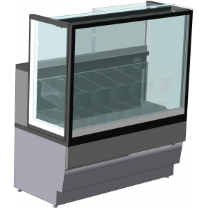 Витрина морозильная напольная, горизонтальная, для мороженого, L0.80м,  8 лотков, -14/-16С, дин.охл., без отделки, стекло фронтальное прямое, H1.32м