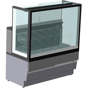 Витрина морозильная напольная, горизонтальная, для мороженого, L1.51м, 16 лотков, -14/-16С, дин.охл., без отделки, стекло фронтальное прямое, H1.32м