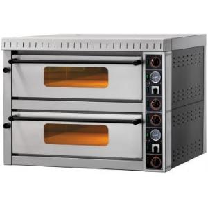 Печь для пиццы электрическая, подовая, 2 камеры  700х700х145мм, 8 пицц D350мм, электромех.управление, дверь стекло, под камень