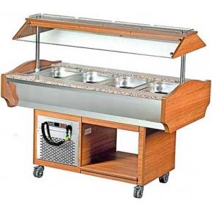 Салат-бар охлаждаемый, островной, 4GN1/1, крышка оргстекло, +2/+10С, орех, передвижной