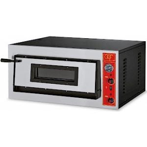 Печь для пиццы электрическая, подовая, 1 камера  610х610х140мм, 4 пиццы D300мм, электромех.управление, дверь стекло, под камень, боковины краш.сталь