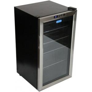Шкаф холодильный для напитков (минибар),  93л, 1 дверь стекло, 4 полки, ножки, +5/+20С, стат.охл., черный