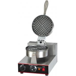 Вафельница электрическая настольная для вафель «бельгийских», 1 поверхность круглая (D180мм) чугун, 4 сегмента, упр.электромех.