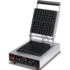 Вафельница электрическая настольная для вафель «бельгийских», 1 поверхность квадратная чугун, 4 сегмента, упр.электромех., таймер