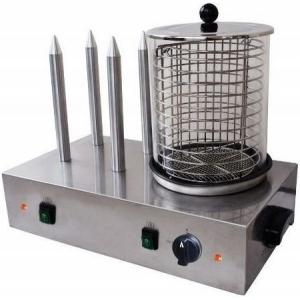 Аппарат для хот-догов паровой, настольный, цилиндр для сосисок, 4 штыря для булочек, электромех.управление, корпус нерж.сталь
