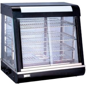 Витрина тепловая настольная, горизонтальная, L0.66м, 3 полки, +30/+60С, чёрная, стекло фронтальное прямое, подсветка