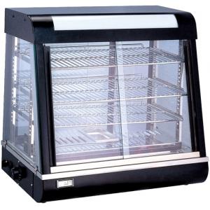 Витрина тепловая настольная, горизонтальная, L0.90м, 3 полки, +30/+60С, чёрная, стекло фронтальное прямое, подсветка