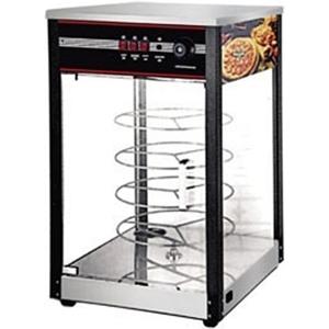 Витрина тепловая настольная, вертикальная, для пиццы, L0.49м, 4 полки вращающиеся, нерж.сталь, 1 дверь стекло