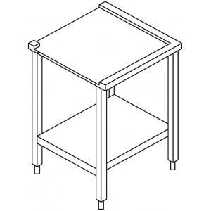 Стол выходной для машин посудомоечных HT, L0.59м, 2 борта, 1 полка сплошная, 4 ножки, нерж.сталь, угловой