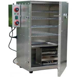 Печь-коптильня электрическая настольная, 1 камера 400х340х690мм, электромех.упр, дверь глухая, 4 полки-решётки, нерж.сталь, труба
