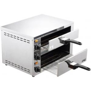 Печь для пиццы электрическая, подовая, 2 камеры  370x350x105/138мм, 2 пиццы D300мм, электромех.управление, 2 двери глухие выдвижные