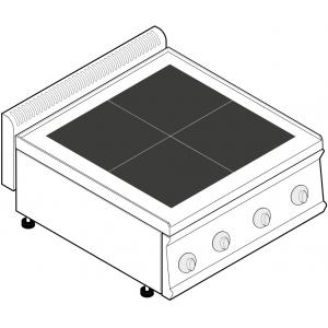 Плита электрическая, 4 конфорки квадратные чугун, настольная