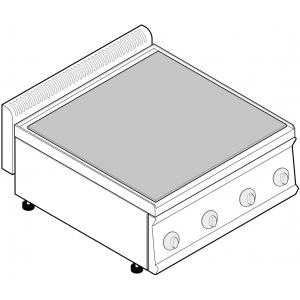 Плита электрическая, 4 зоны 4х2.0кВт, поверхность сплошная стальная, настольная