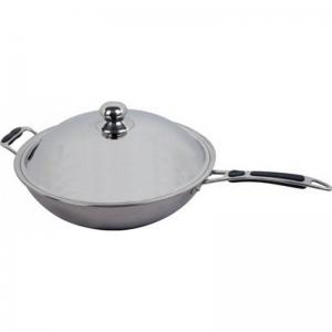 Сковорода WOK, для плиты Wok, крышка, D360мм, нерж.сталь