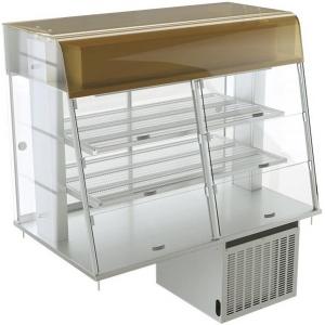 Витрина холодильная встраиваемая, горизонтальная, L1.20м, 2 полки, +2/+10С, двери-купе, нерж.сталь, подсветка