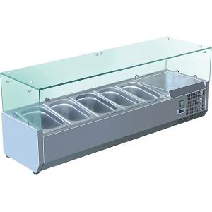 Витрина холодильная настольная, горизонтальная, для топпингов, L1.20м, 5GN1/4, +2/+8С, стат.охл., нерж.сталь, верхняя структура стекло