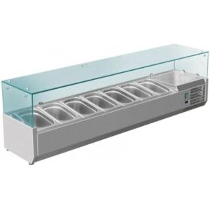 Витрина холодильная настольная, горизонтальная, для топпингов, L1.50м, 7GN1/4, +2/+8С, стат.охл., нерж.сталь, верхняя структура стекло