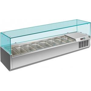Витрина холодильная настольная, горизонтальная, для топпингов, L1.80м, 9GN1/4, +2/+8С, стат.охл., нерж.сталь, верхняя структура стекло