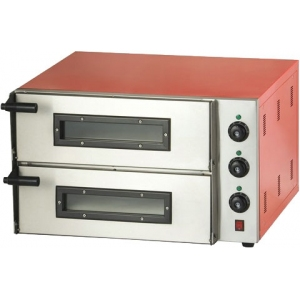Печь для пиццы электрическая, подовая, 2 камеры  400х400х115мм, 2 пиццы D300мм, электромех.управление, двери стекло, лицо нерж.сталь, корпус красный