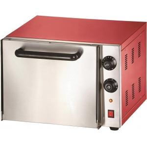 Печь для пиццы электрическая, подовая, 1 камера  330х330х115мм, 2 пиццы D300мм, электромех.управление, дверь глухая, лицо нерж.сталь, корпус красный