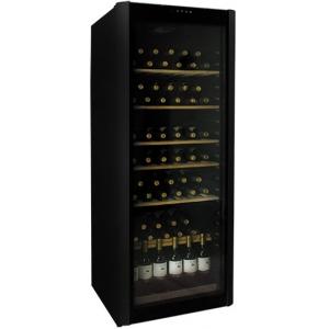 Шкаф холодильный для вина,  96бут., 1 дверь стекло, 6 полок, +7/+18С, стат.охл., черный, R600a